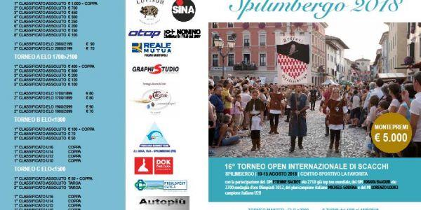 16° Torneo Open Internazionale di Spilimbergo 10-15 agosto 2018