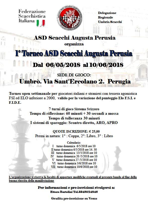 Calendario Tornei Scacchi.1 Torneo Asi Scacchi Augsta Perusia Euroscacchi